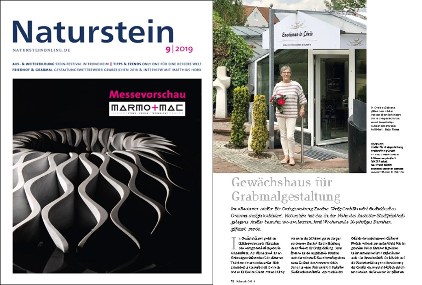 """Emotionen in Stein"" im Naturstein-Magazin 09/19"